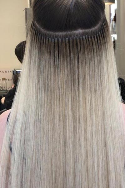 Close up of bonds of Great Lengths Hair Extensions