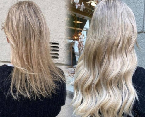 before and after image of fine hair with hair extensions